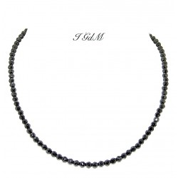 Faceted obsidian necklace 4mm