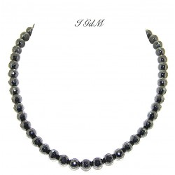 Faceted obsidian necklace 8mm