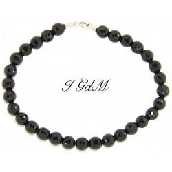 Faceted obsidian bracelet 6mm