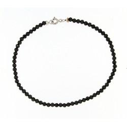 Faceted obsidian bracelet 3mm