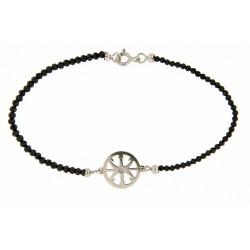 Faceted obsidian bracelet 2mm