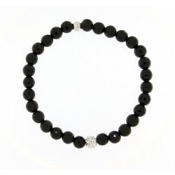 Faceted obsidian bracelet 6mm