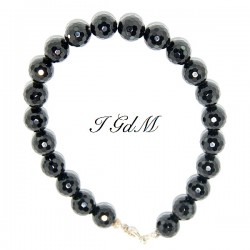 Faceted obsidian bracelet 10mm