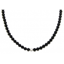 Smooth obsidian necklace 6mm