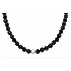 Smooth obsidian necklace 8mm
