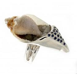 Fossil quartz shell ring
