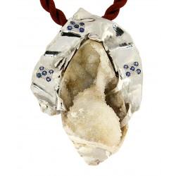 Quartz fossil shell pendant