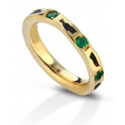 Aeolian ring wide emeralds