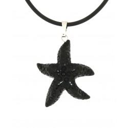 Obsidian starfish pendant