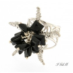 Starfish and obsidian ring