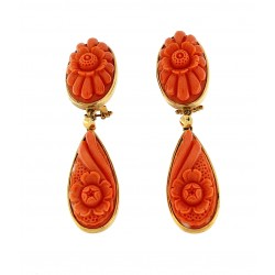 Earring coral drops engraved