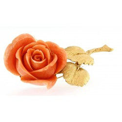 Coral rose brooch