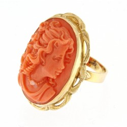 Macao coral cameo ring