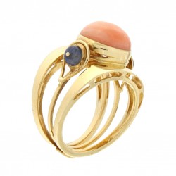 Coral pink and sapphire ring