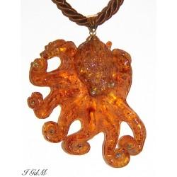 Amber octopus pendant