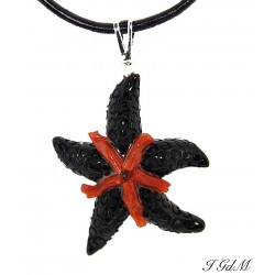 Obsidian starfish and coral...