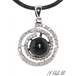 Obsidian pendant and cubic...