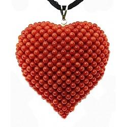 Ciondolo cuore corallo tessito